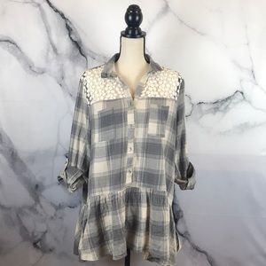 Easel 💯 cotton plaid tunic w/ embroidered detail